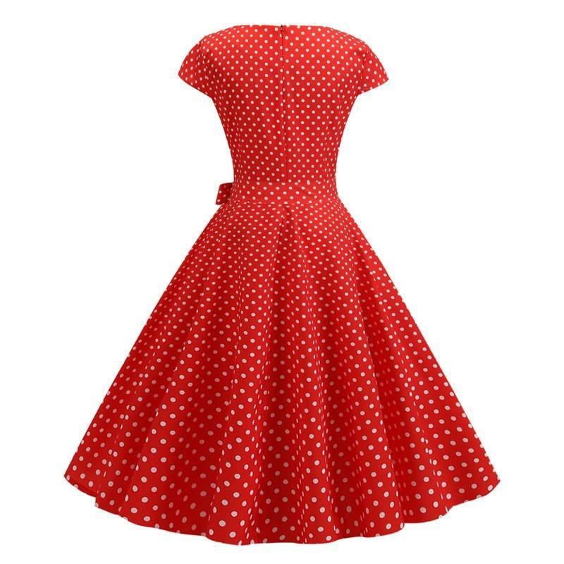 Robe Pin Up Rouge à Pois Blanc