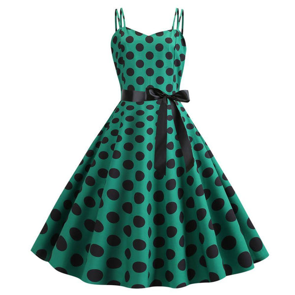 Robe Pin Up Verte à Pois
