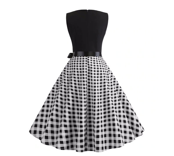 Robe Pin-Up <br> Vichy Noire & Blanche <br> Rétro 50's