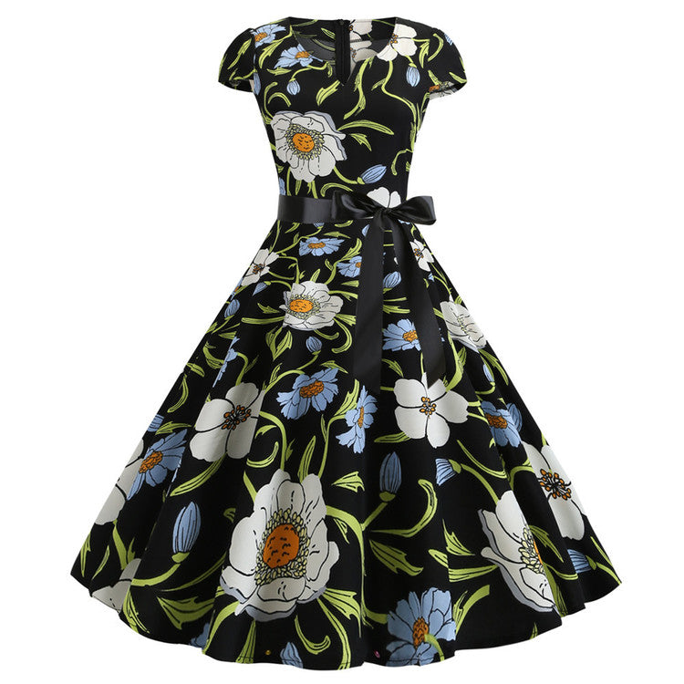 Robe Pin-Up <br> Noire Fleurie <br> Vintage 1960
