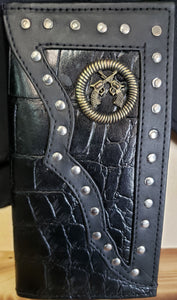 Long Black Bifold with Crossed Pistols