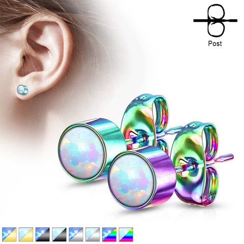 316L Opal Bezel Earrings