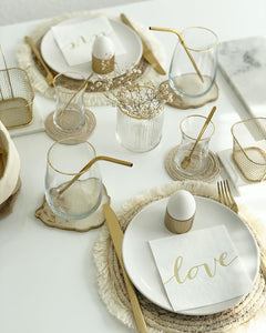 GOLD-PIECES-Table-setting-gold-Goldbesteck-Servietten-Trinkhalme-Wohnaccessoires