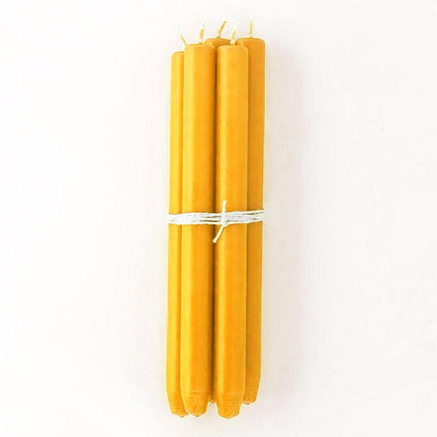 Bright Yellow Taper Candles, Bundle of 4
