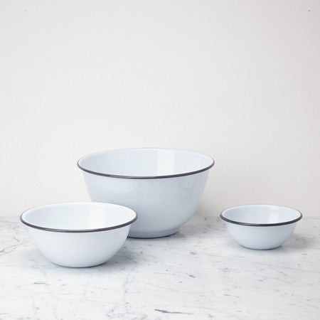 Enamel Mixing Bowl Set, Grey