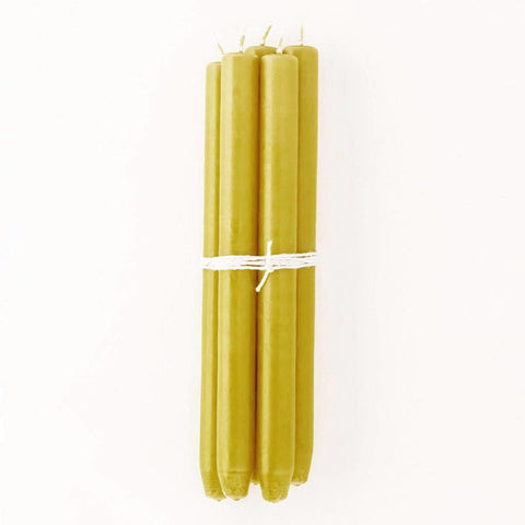 Dark Lime Taper Candles, Bundle of 4