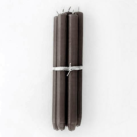 Dark Brown Taper Candles, Bundle of 4