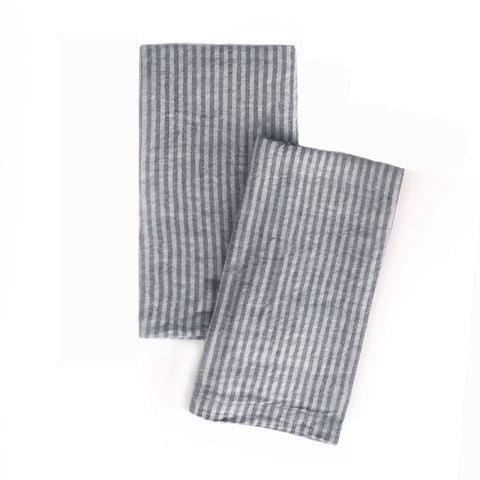 Striped Linen Napkin in Tempest and Fog