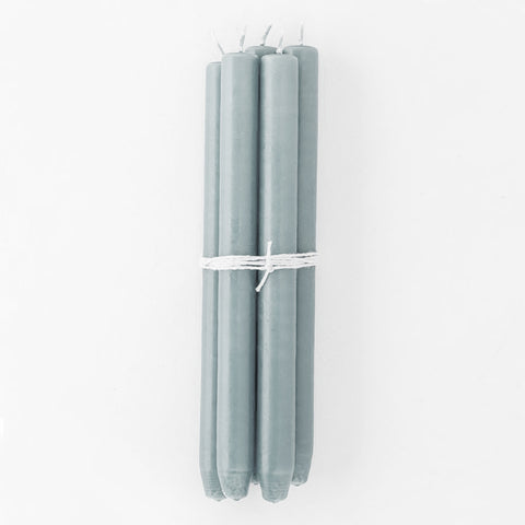 Grey Green Taper Candles, Bundle of 4