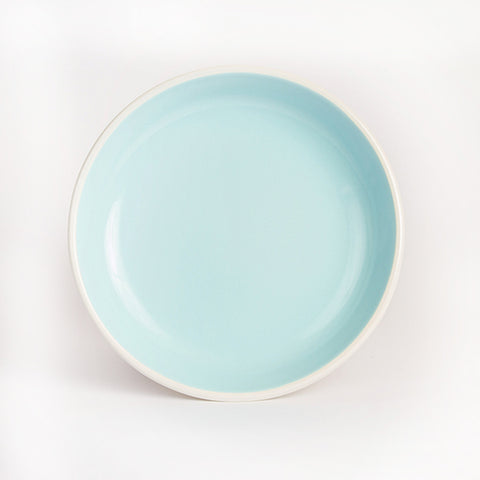 Enamel Dinner Plate, Light Blue