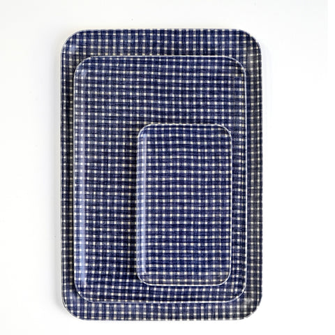 Navy Plaid Trays