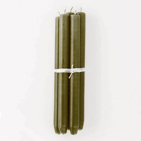 Olive Green Taper Candles, Bundle of 4