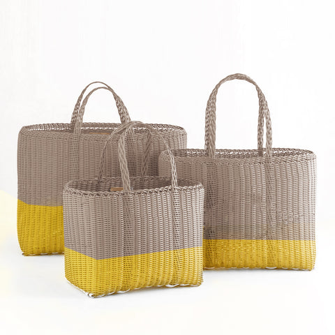 Recycled Plastic Totes, Taupe and Citron