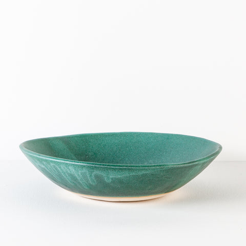 Simple Stoneware Bowl, Weather Green