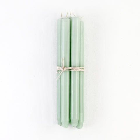 Mint Green Taper Candles, Bundle of 4