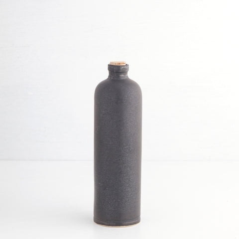 Vinegar Bottle with Cork Stopper, Dark Grey
