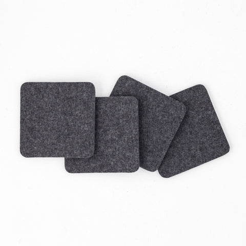 Solid Felt Coasters, Charcoal