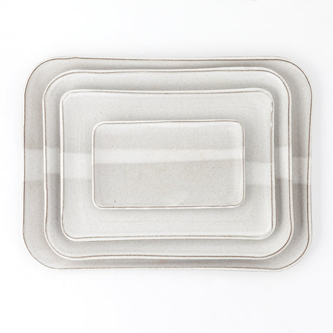 Stoneware Stacking Trays, Oatmeal