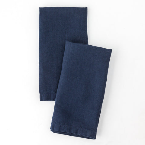 Washed Linen Napkin, Navy Blue