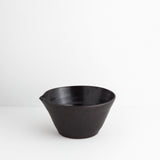 Medium Stoneware Bowl w/ Spout, Black