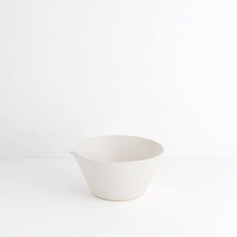 Small Stoneware Bowl w/ Spout, White