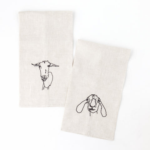 Goat Embroidered Tea Towels, Set of 2
