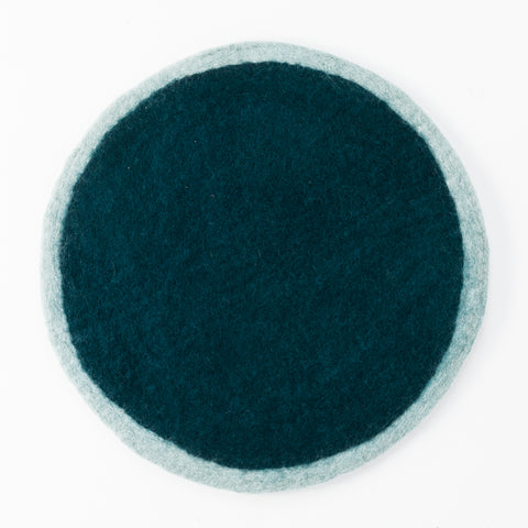 Round Felt Placemat, Jade and Duck Blue