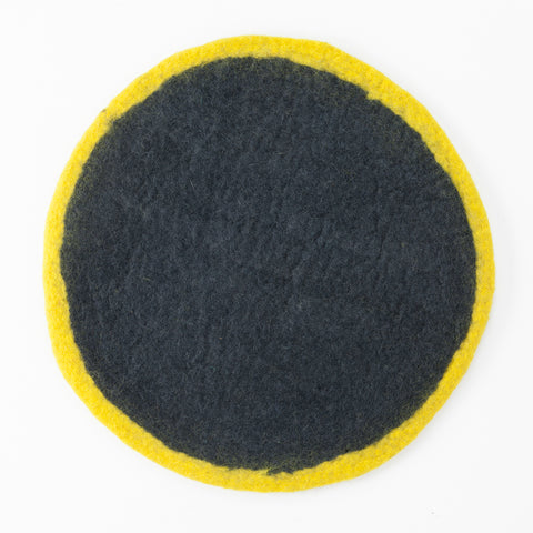 Round Felt Placemat, Yellow and Grey