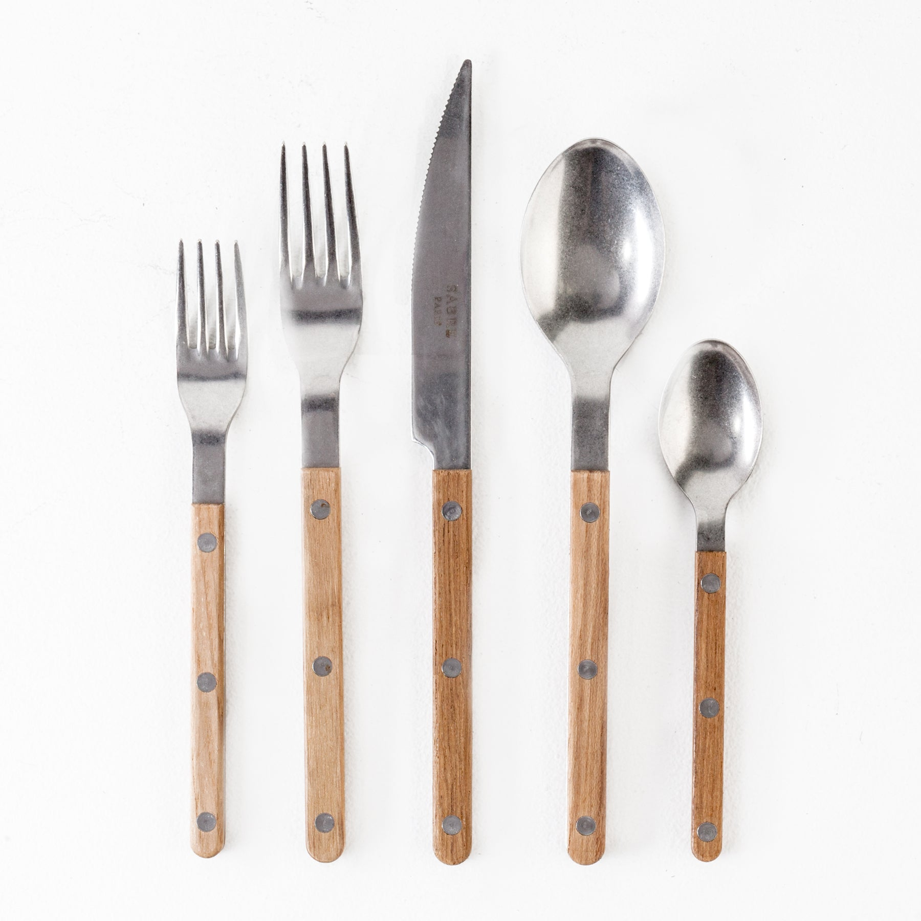 Teak Flatware, 5pc Place Setting