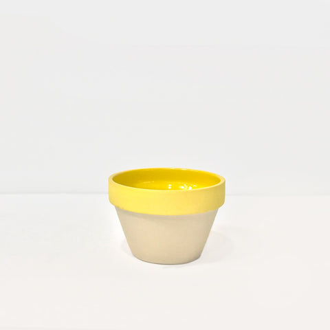 Yellow Glazed Stoneware Snack Bowl
