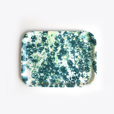 Small Rectangular Teal Burst Tray