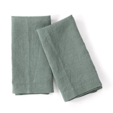 Washed Linen Napkin, Spa Green