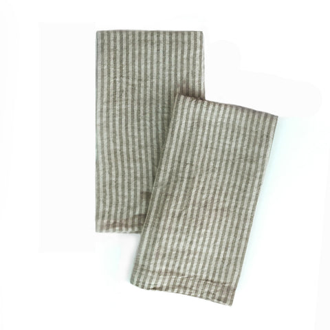 Striped Linen Napkins in Roy and Sable