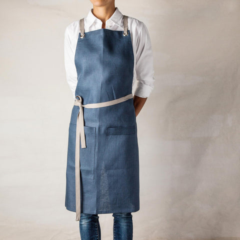 blue full bib apron
