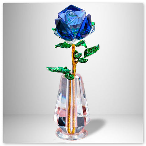 Rose Vase Cristal et Or