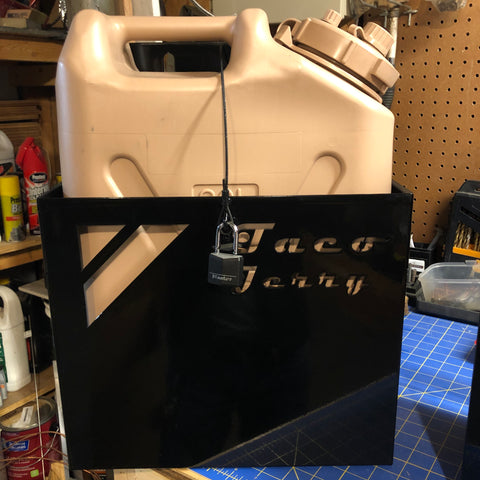 Jerry Can Bracket for Toyota Tacoma. Taco Jerry. Carry extra fuel or water in your truck. 2nd Gen and 3rd Gen Tacoma. Jerry Can holder.