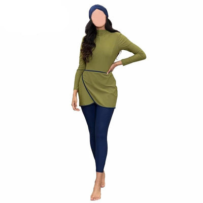 Long Sleeves Modest Patchwork Swimsuit