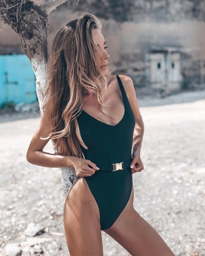 Sexy Pure Color Waistband Swimsuit