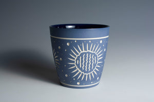Carved Blue Cup