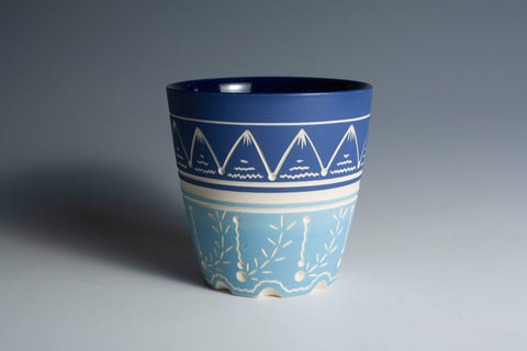 Carved Two-Tone Blue Cup