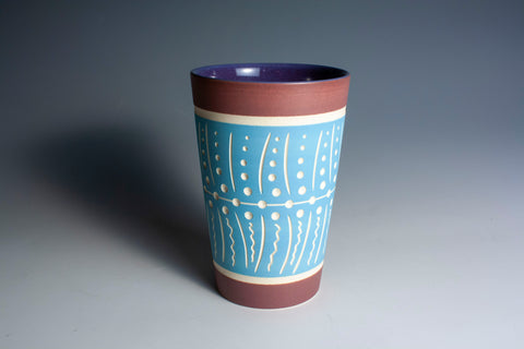 Carved Light Blue and Maroon Tumbler