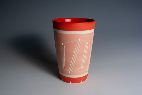 Carved Red and Pink Tumbler