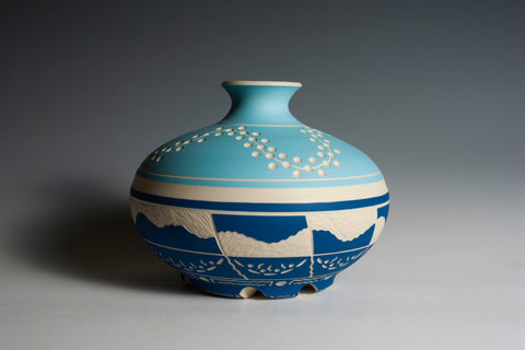 Carved Two-Tone Blue Vase