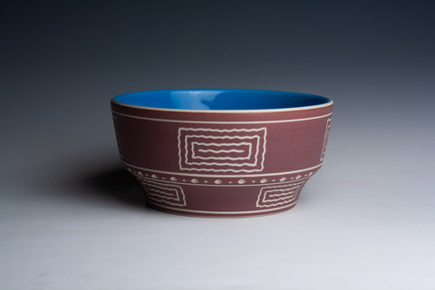 SECOND Maroon Bowl with Blue Glaze Interior