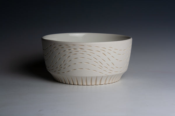 Carved White Bowl with Blue Bottom