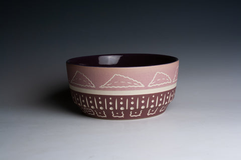 Carved Two-Tone Purple Bowl