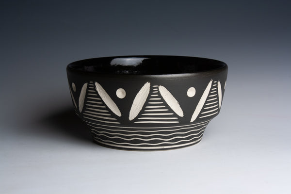 Carved Black Bowl with Yellow Bottom