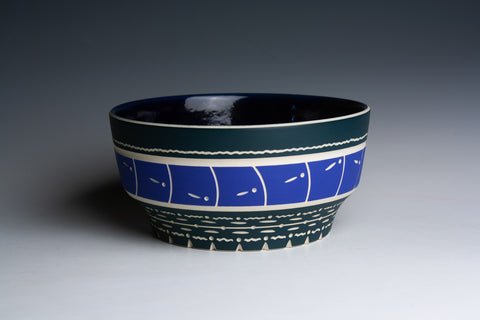 Carved Blue and Green Bowl