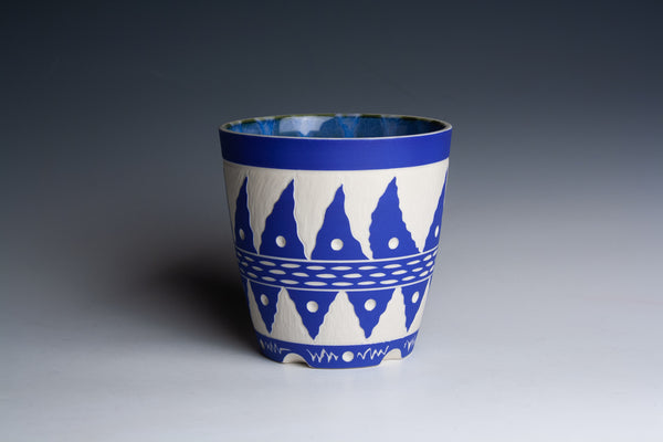 Carved Blue Cup with Stirped Interior