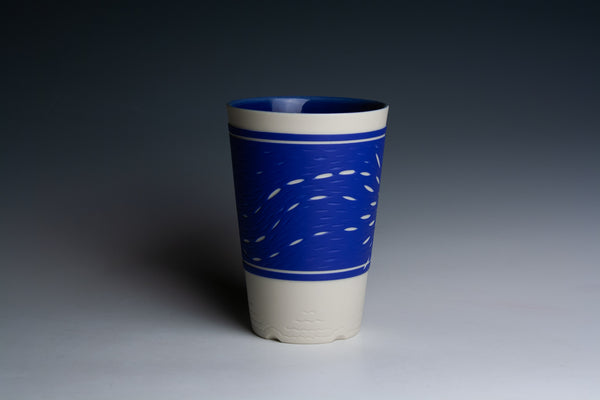 Carved Blue and White Tumbler